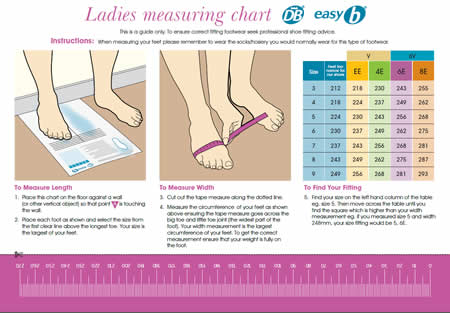 DB Shoes ladies Measuring chart