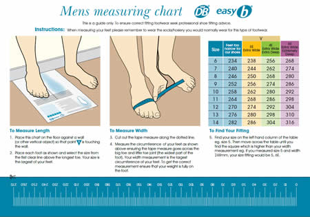 DB Shoes mens Measuring chart