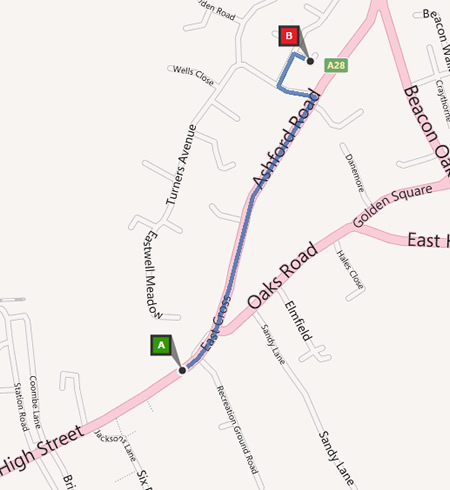 Walking map from Tenterden High Street